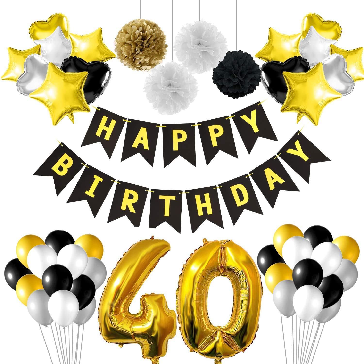 KUUQA 40th Birthday Party Decorations Black And Gold With Banner Foil Balloons Paper Pom Poms For