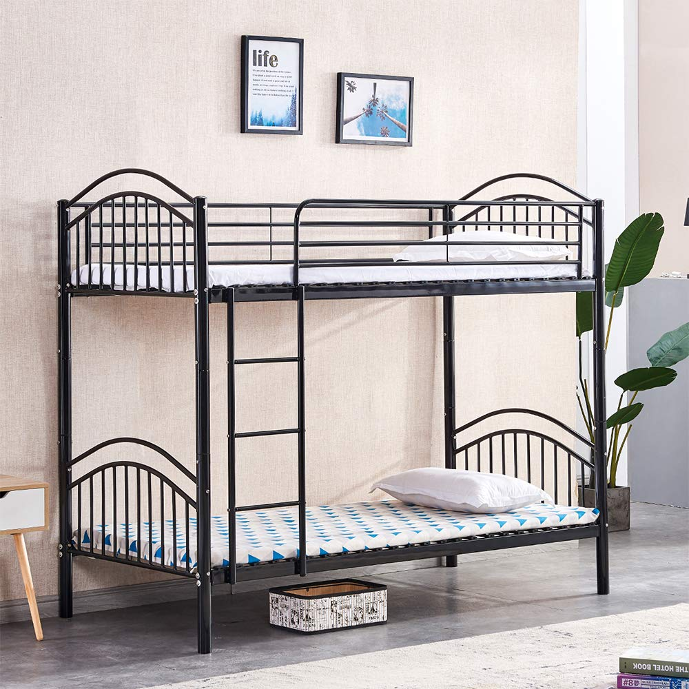 Homesailing Eu Metal Bunk Bed Frame Can Split Into 2 3ft Beds Single Bed Loft Bed With Ladders And Safety Guardrail High Bed Twin Sleeper For Kids Children And Adults Black Buy Online