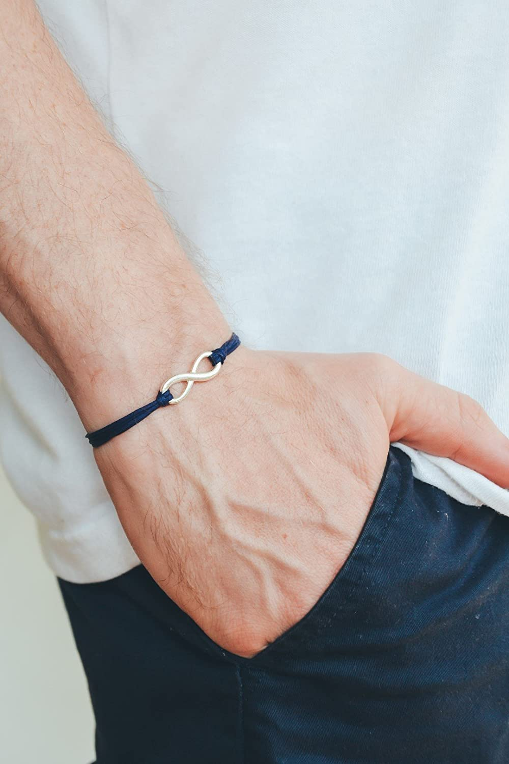 Infinity bracelet for men, blue cord men's bracelet, silver infinity charm, gift for him, endless, friendship, adjustable, yoga bracelet blue cord men' s bracelet