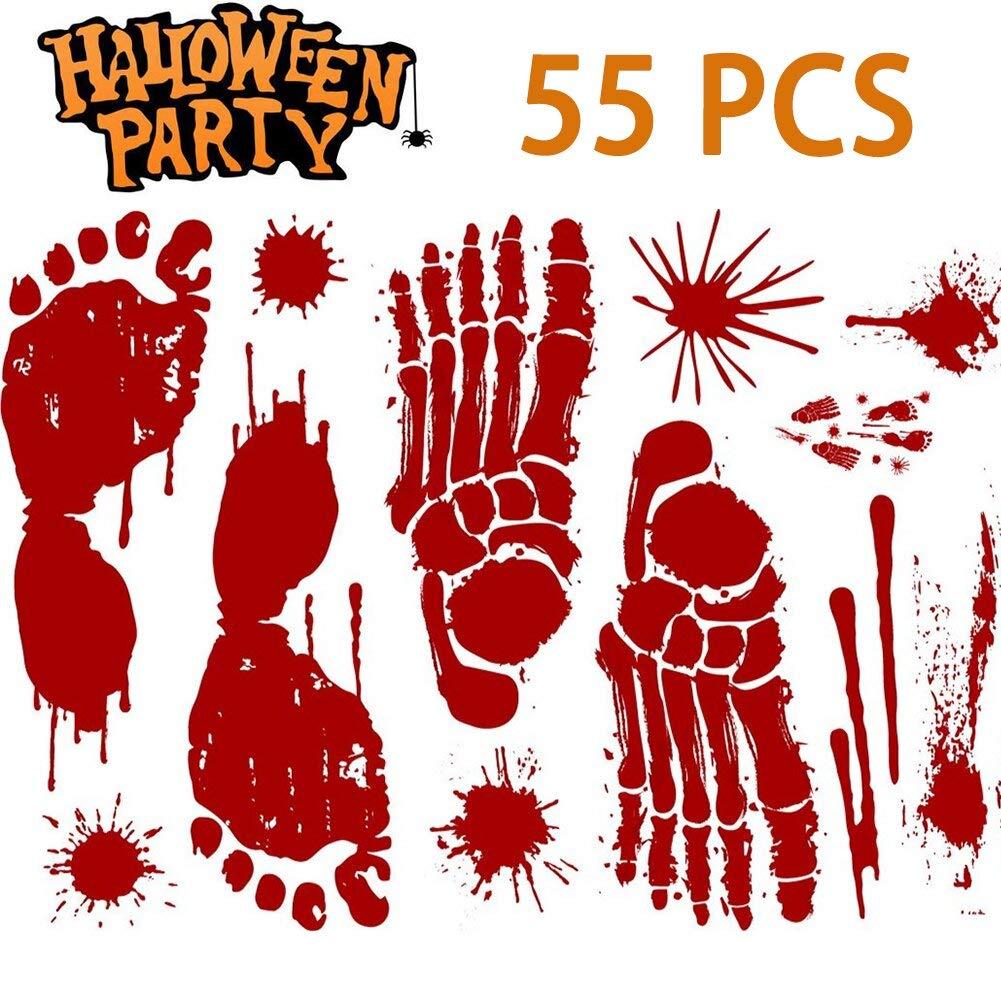 BALEMS Halloween Decorations(55 PCS), Horror Bloody Handprints&Footprints Stickers Vampire Zombie Party Decorations Decals Stickers Supplies