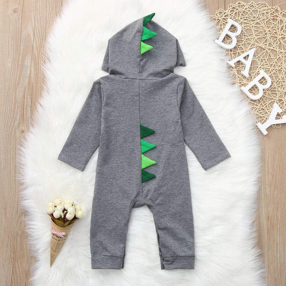Staron Newborn Baby Dinosaur Hoodies Bodysuit Romper Zipper Hooded Jumpsuit Outfits