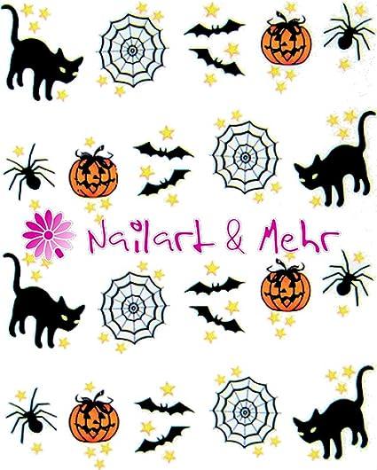 """Nail adhesivo """"Halloween, araña, calabaza, gatos, araña redes, murciélagos"""""""