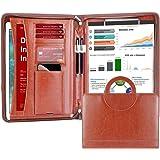 Darolin Zippered Leather Padfolio Portfolio with [Hidden Handle] and [Clipboard], Business Conference Portfolio Organizer Not