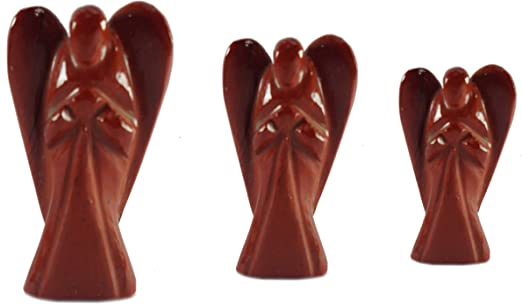 2 Inch 5Elements Healing Red Jasper Angel Guardian Pocket Gemstone Figurines