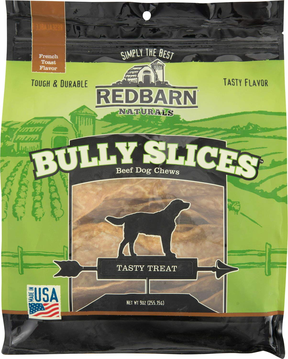 Red Barn Naturals Bully Slices Beef Dog Chews, French Toast, 9 Ounce, 6 Pack