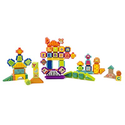 Small Foot Wooden Toys Safari Theme Wood and Knobs Building Blocks 150 Piece playset Designed for Children 12+ Months: Toys & Games