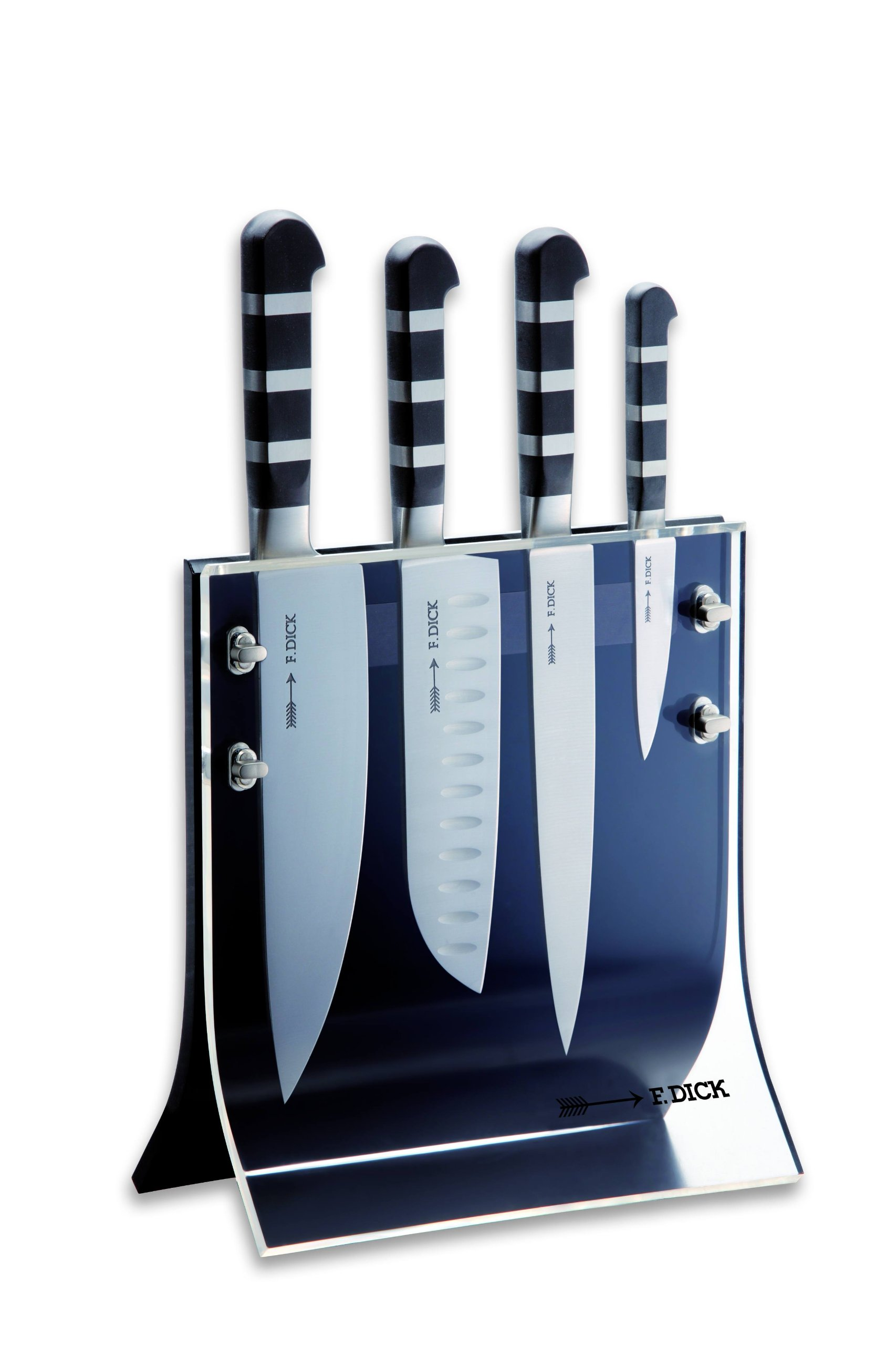 Friedr. Dick 4-Piece 1905 Knife Block Includes 8'' Chef's Knife, 7'' Santoku Knife, 8'' Slicer and 3'' Paring Knife by Friedr Dick