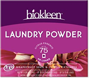 Biokleen Laundry Detergent Powder, Concentrated, Eco-Friendly, Non-Toxic, Plant-Based, No Artificial Fragrance, Colors or Preservatives, Citrus Essence, 5 Pounds - 75 HE Loads/50 Standard Loads
