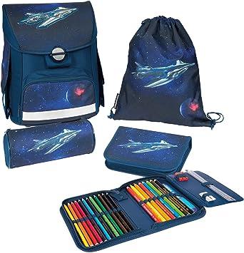 Set de Mochila Escolar Compuesto de Mochila Escolar, Estuche Lleno y Bolsa de Deporte, Altura Regulable, ergonómica, con diseño de Nave Espacial: Amazon.es: Equipaje