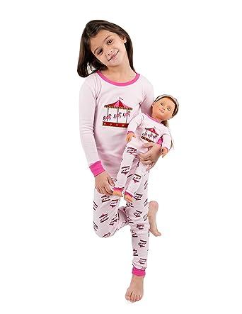 3be29998e Leveret Kids Pajamas Matching Doll   Girls Pajamas 100% Cotton Pjs Set  (Carousel
