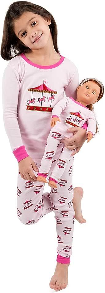Leveret Kids & Toddler Pajamas Matching Doll & Girls Pajamas 100% Cotton 2 Piece Pjs Set (Size 2 Toddler-14 Years)