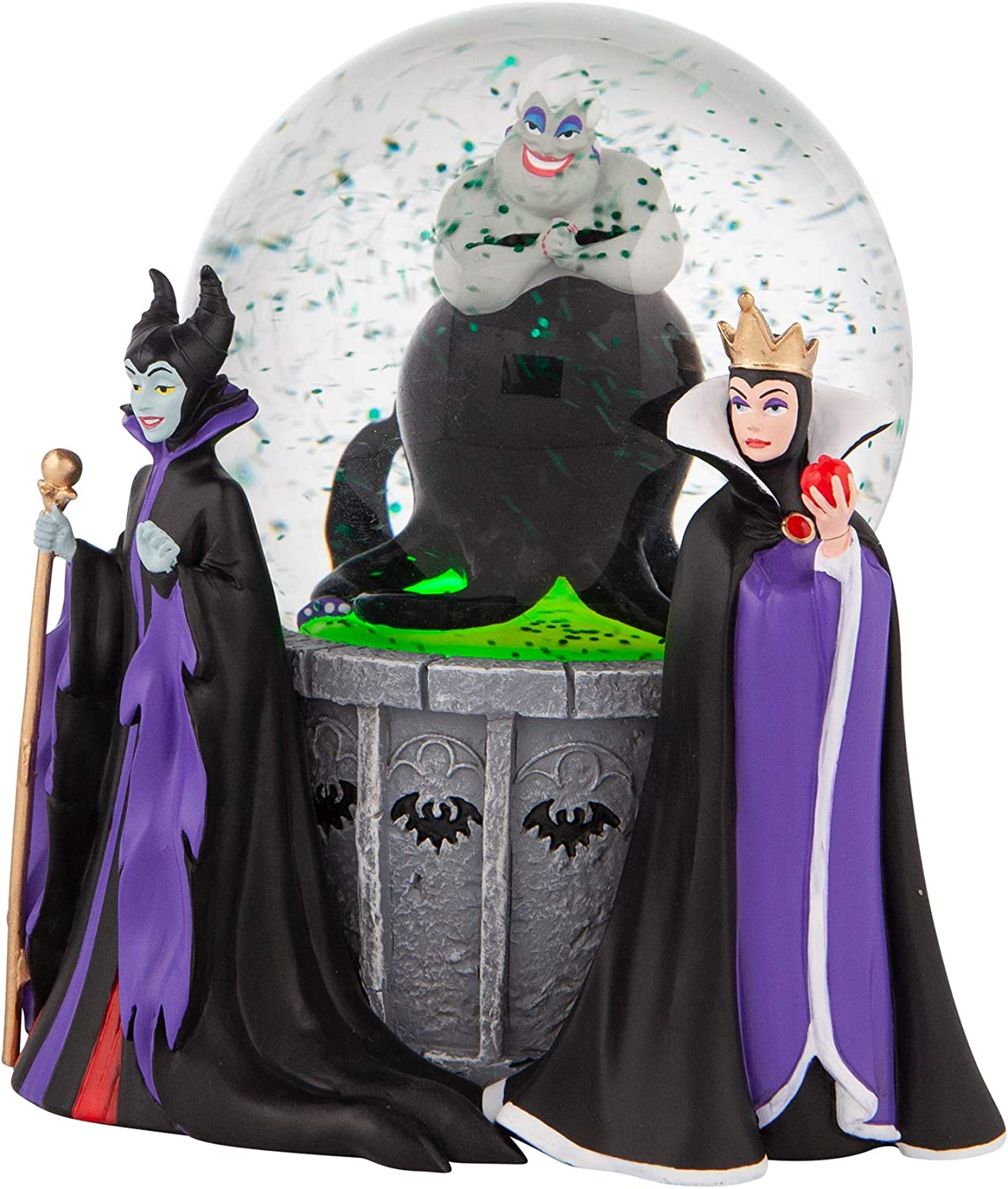 Department 56 Disney Villains Ursula, Maleficent and Evil Queen Lit Waterglobe Waterball, 5.91 Inch, Multicolor