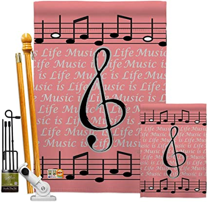 Breeze Decor Music Is Life Garden House Flags Kit Interests Musical Guitar Clef Piano Hobbies Leisure Activity Instrument Small Decorative Gift Yard Banner Made In Usa 28 X 40