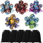 CiaraQ Polyhedral Dice Set (35 Pieces) with Black Pouches, 5 Complete Double-Colors Dice Sets of D4 D6 D8 D10 D% D12 D20 Com