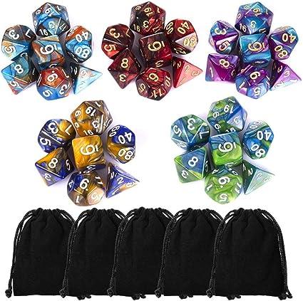 D10 D6 D4 DND dice DND RPG MTG Double Colors for One Piece Polyhedral Dice Set Table Games Dice 1 Sets Dice Die Series D20 D12 Purple /& White, 7 Pieces D8
