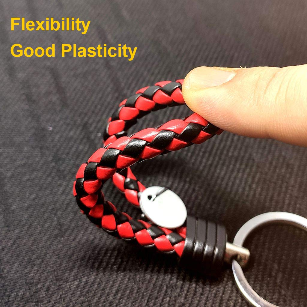 ZaCoo 2 Pcs Car Key Chains Woven Keychain for Women Men Weave Key Chain Ring Red/&Black