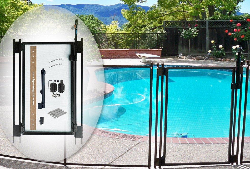 Pool Fence DIY by Life Saver Self-Closing Gate Kit, Black