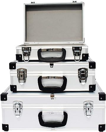 HENGMEI set de 3 caja de herramientas caja de aluminio caja de herramientas pequeña - caja de aluminio caja de transporte plata (pequeña): Amazon.es: Bricolaje y herramientas