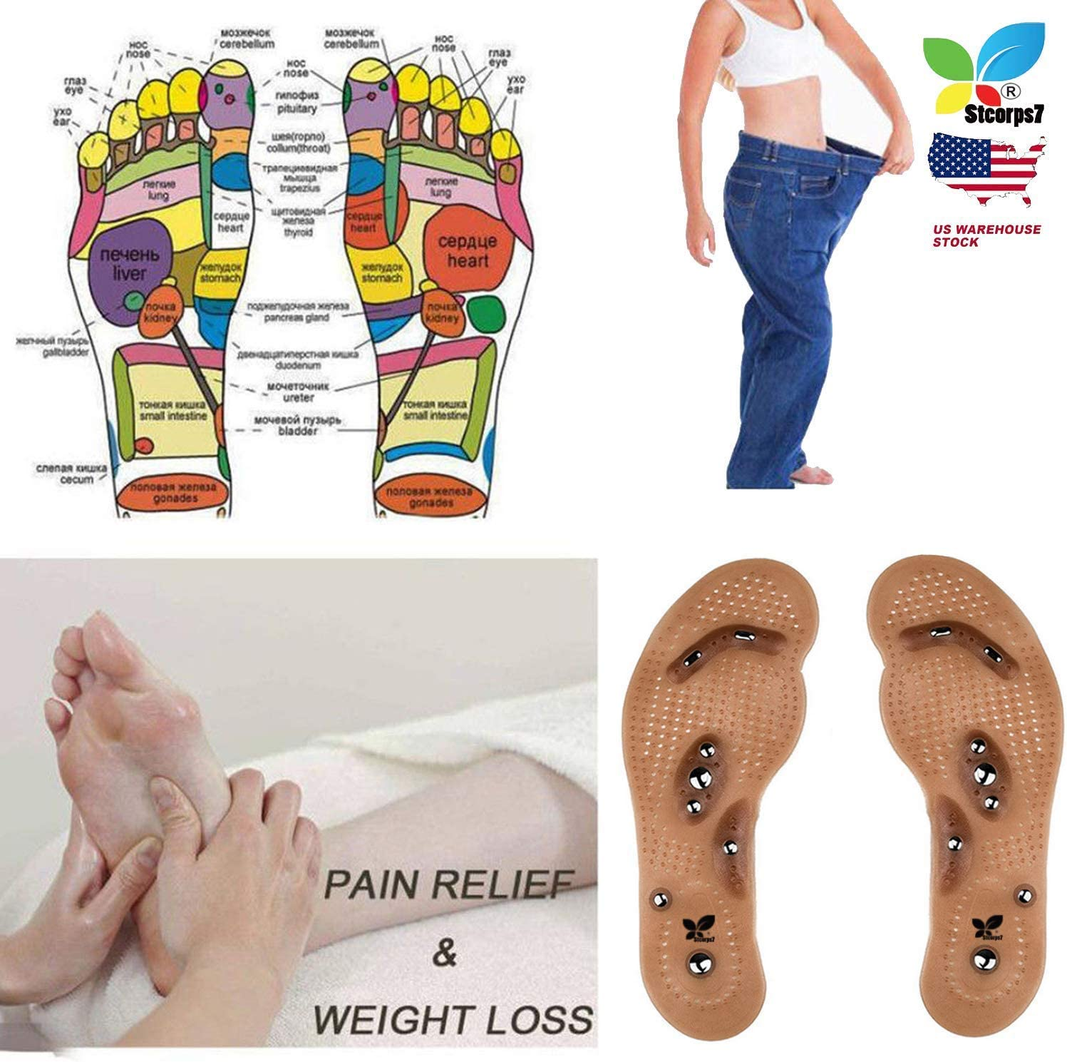 Women Man Acupressure Magnetic Massage Weight Loss Therapy Slimming Insoles
