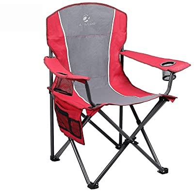 ALPHA CAMP Folding Camping Chair Heavy Duty Support 350 LBS Oversized Steel Frame Collapsible Padded Arm Chair with Cup Holder Quad Lumbar Back Chair Portable for Outdoor, Red/Gray : Sports & Outdoors