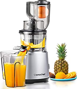 AMZCHEF Slow Juicer Slow Masticating Juicer Cold Press Juicer Vegetable&Fruit Extractor Juicer Machine Vertical Reverse Function Quiet Motor Big Feed Chute|Juice Jug&Brush BPA-Free