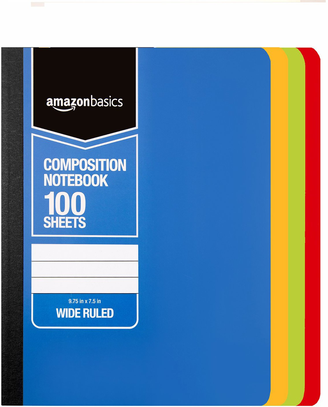 AmazonBasics Wide Ruled Composition Notebook, 100 Sheet, Assorted Solid Colors, 36-Pack