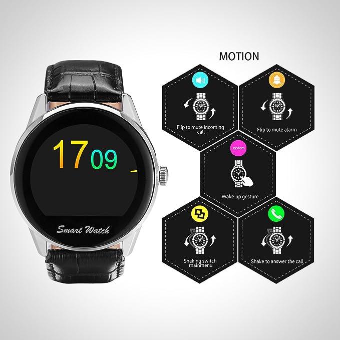 Fantime Smartwatch Relojes Inteligentes Teléfonos Bluetooth Soporta Llamada Mensaje SIM Podómetro/Monitor de sueño/Deporte/Facebook/Twitter/para ...