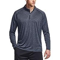 TSLA Men's 1/4 Zip Pullover Long Sleeve Shirt, Quick Dry Performance Running Top, Athletic Quarter T-Shirt