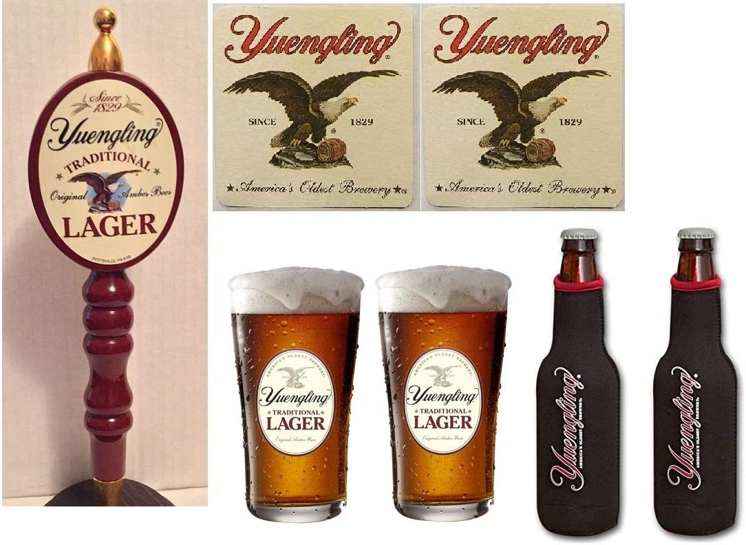 """2 YUENGLING Traditional Lager """"America's Oldest Brewery"""" Beer Pint Glass"""