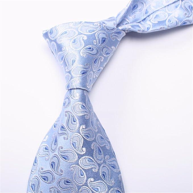 HXCMAN 8cm azul claro floral paisley corbata Diseño clásico 100 ...