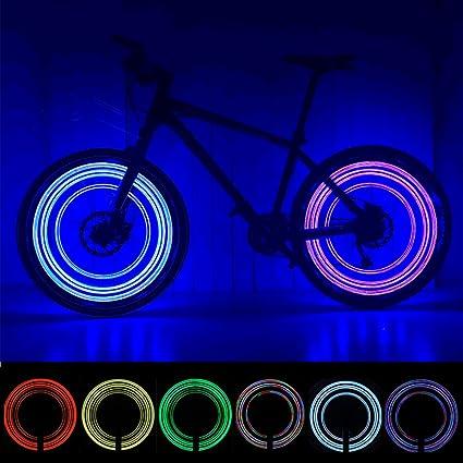 Pack de 2 luces LED para rueda de bicicleta, impermeables, luces de seguridad para