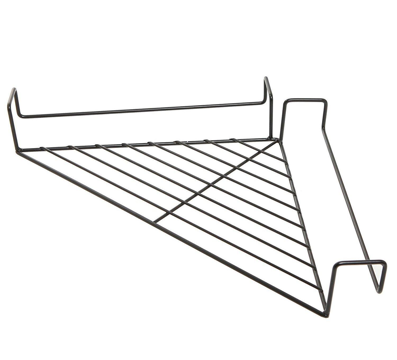 Fashionclubs Iron Wire Office Cubicle Sundries Corner Storage Shelf Rack,Balcony Corner Plant Caddy (Black)
