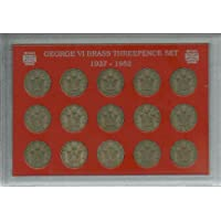 1937-1952 King George VI Threepences Great Britain British Coin Collection Collector Brass Threepence 3d Set