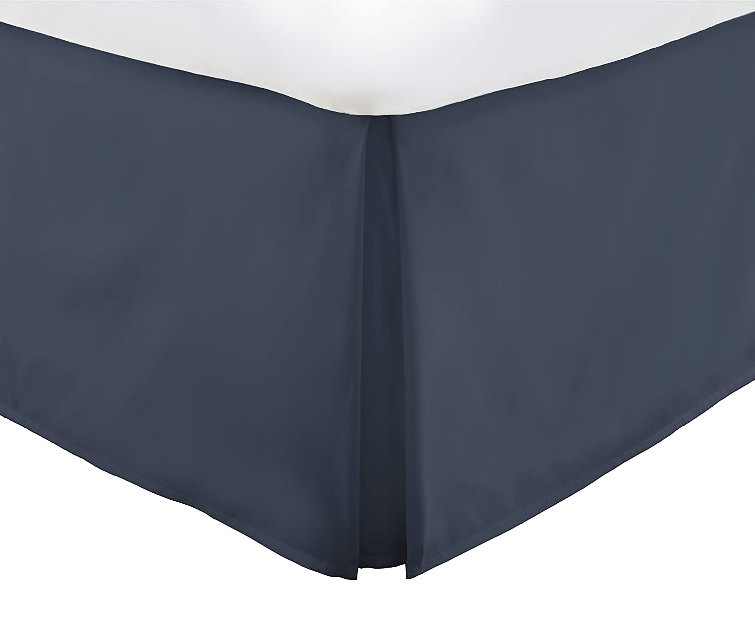 Italian Luxury Hotel Collection Bed Skirt with 15-inch Drop - Double Brushed Microfiber Pleated Dust Ruffle -Navy - Twin