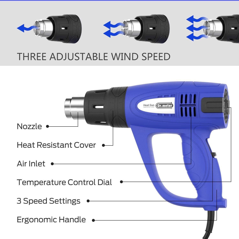 la R/énovation de la Maison D/écapeur Thermique Dr.meter avec une Plage de Temp/érature R/églable de 60 /à 600 /° C Decapeur Thermique 10 Accessoires 3 Vitesses du Flux d/'Air pour le Bricolage