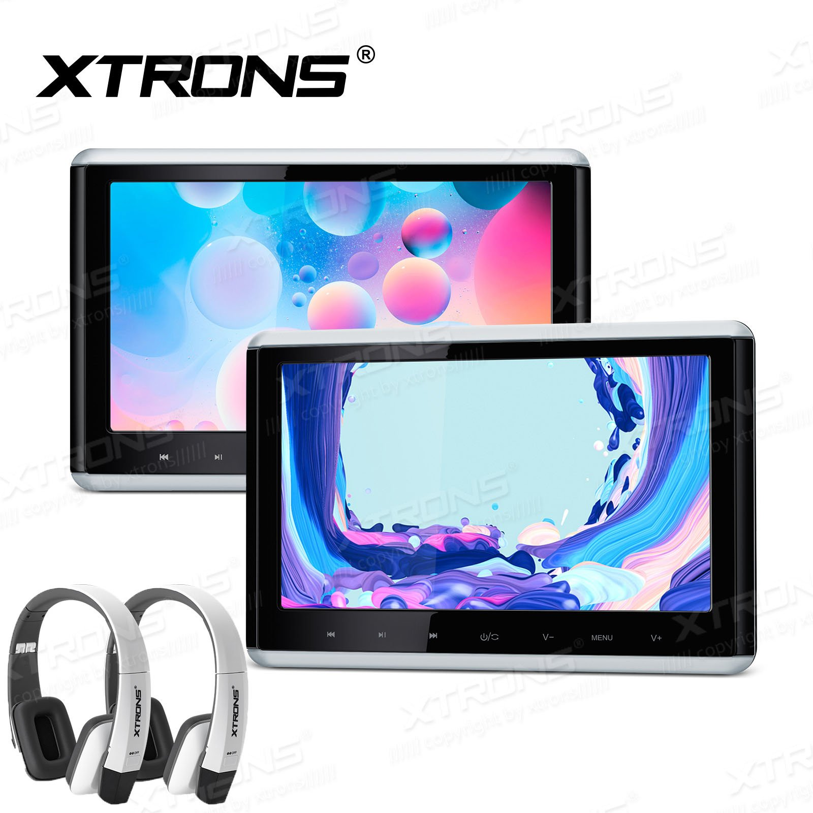 XTRONS 2 x Touch Panel Pair 10.2'' HD Digital TFT Screen 1080P Video Car Active Headrest DVD Player New Version White IR Headphones