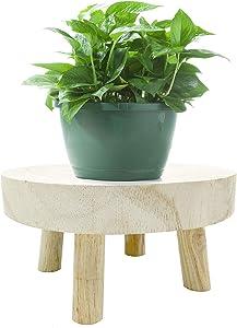 changsha Mini Wooden Stool Display Stand, Round Wooden Flower Stool Display Stand, Vintage Round Wood Grain Garden Plant Pot Riser Stand for Indoor Outdoor Home Garden Decor (S)