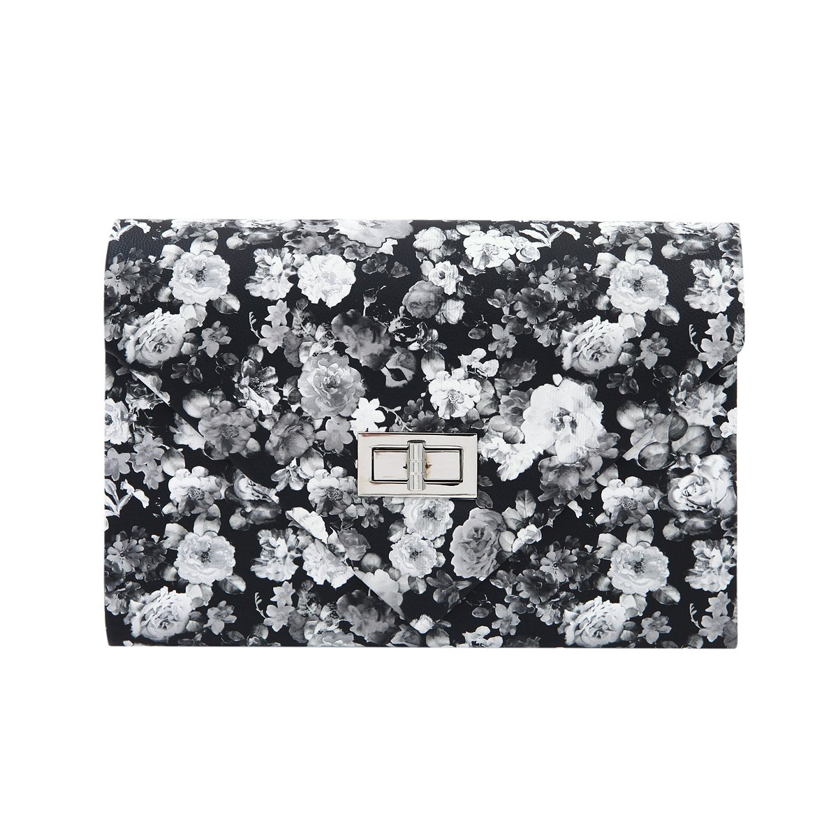 PU Leather Floral Turnlock...
