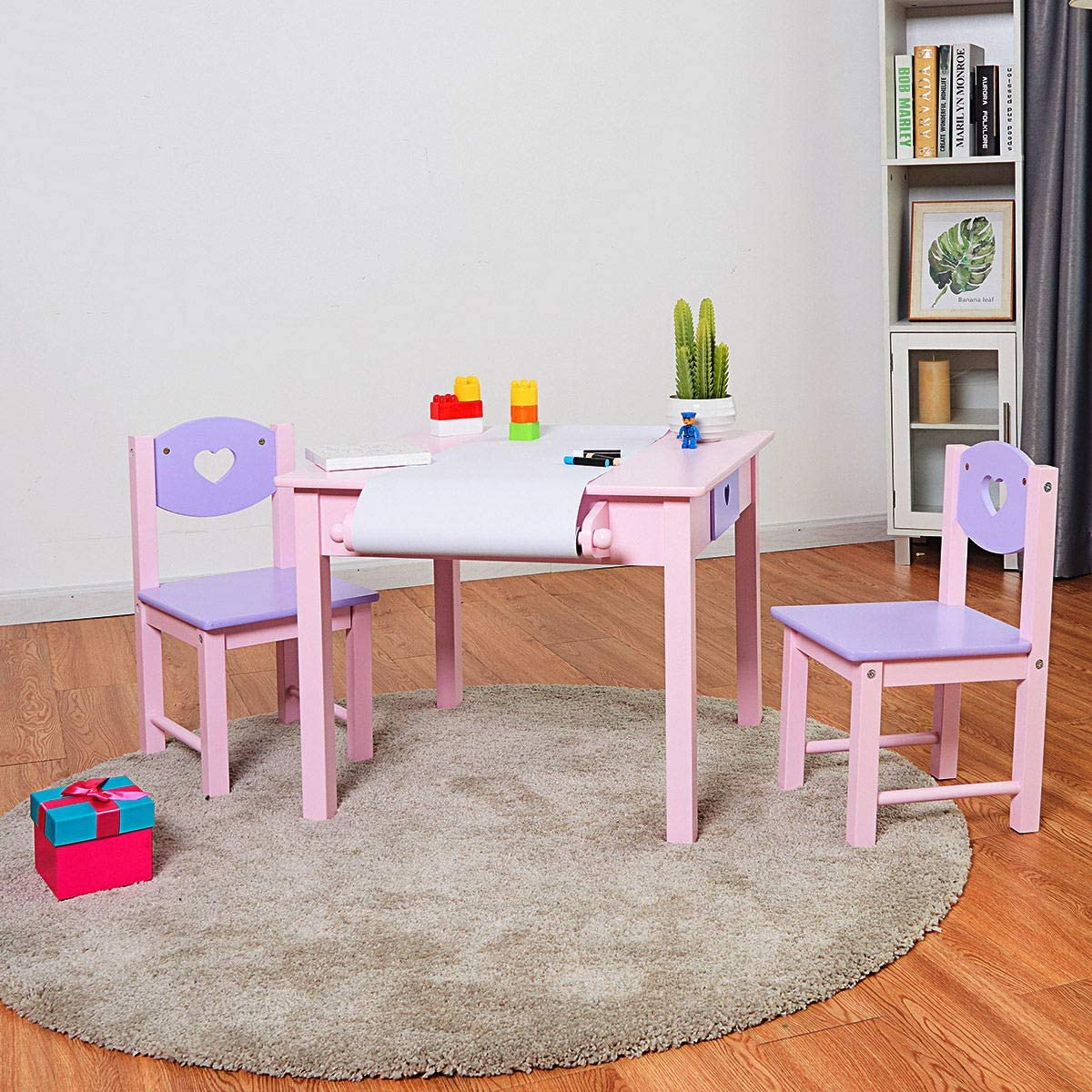 COSTWAY Kids Table Chair Set with 2 Drawers Storage & Paper Roll Rack, Children Wooden Art Painting Desk + 2 Chairs Set for Living Room, Bedroom (Pink