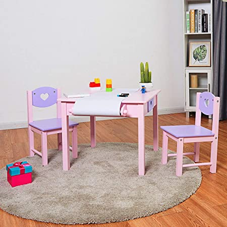 Multi-purpose Childrens Desk Chiar Set Hollow-Out Heart Pattern Paper Roll Rack GYMAX Kids Table with 2 Chairs 2 Drawers