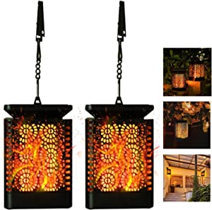 Solar Lantern Hanging Lights Outdoor , 2pack Patio Decor Lanterns with Diamont Flickering Dancing Flame, Waterproof Solar Powered LED Lantern Decorative Lights for Patio Yard Garden Table Decoration