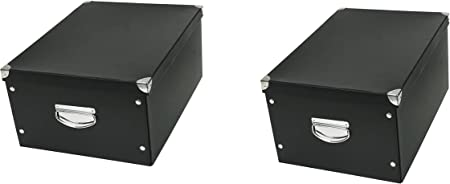 Conjunto de 2 cajas decorativas de la A la caja de esquinas metálicas de fotos cajas negras y CD: Amazon.es: Hogar