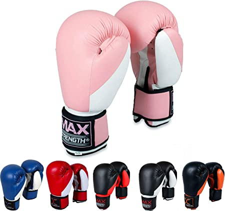 8oz 16oz MAXSTRENGTH Boxing Gloves for Training /& Muay Thai 14oz 12oz Mitts for Sparring Grappling Dummy Double End Speed Ball /& Focus Pads Punching Sizes 4oz 6oz Kickboxing Great for Heavy Punch Bag Fighting 10oz
