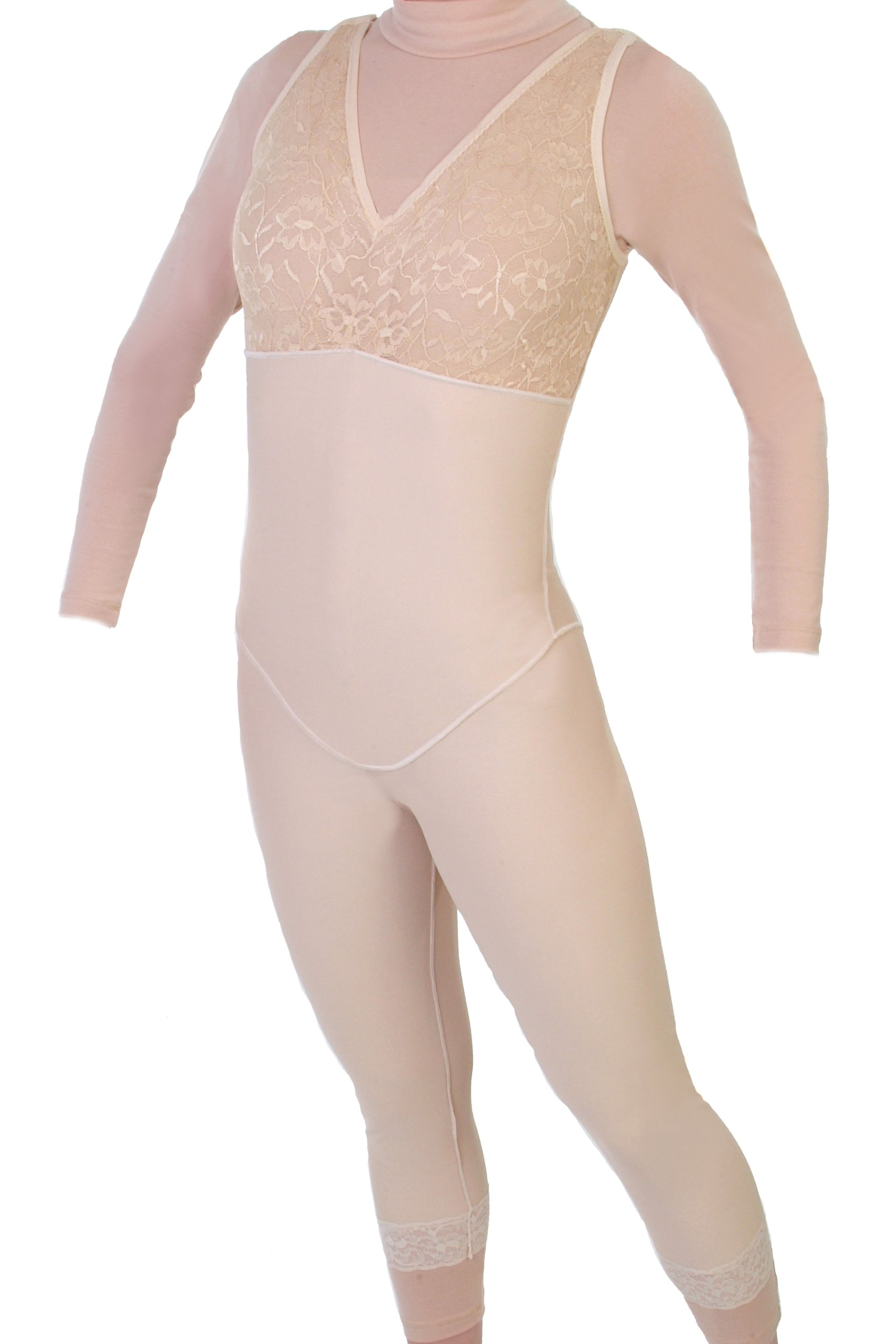 Style 28NZ - Mid Calf Body Shaper Without Zippers by Contour | Compression Garments | ContourMD (X-Small, Beige)
