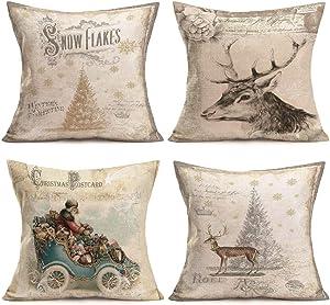 "Doitely Christmas Pillow Covers Set of 4 Cotton Linen Cushion Cover Victorian Santa Postcard with Tree Elk Santa Claus Decor Pillow Cases Farmhouse Xmas Home Decor 18"" x18''"