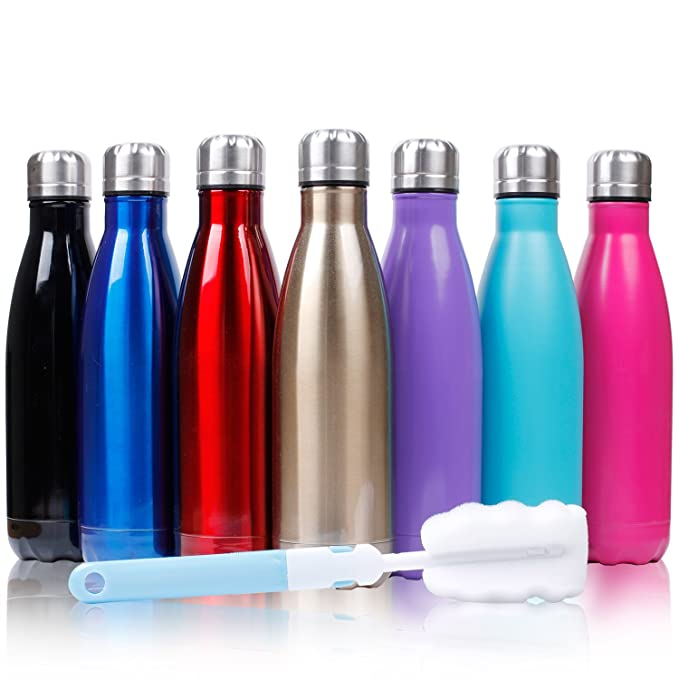 Sfee - Botella de agua (500 ml, cierre aislado, acero inoxidable, doble pared, incluye cepillo de limpieza), negro: Amazon.es: Deportes y aire libre