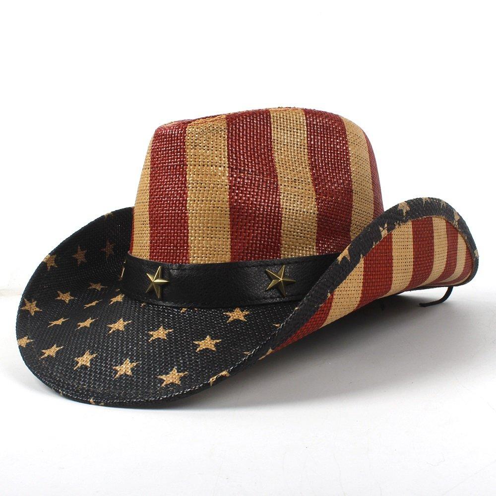 Cowboy Hat National Flag for Women Men Fedora Hat Sun Hat 5 Style (color   2, Size   5859cm)