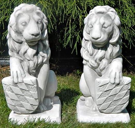 Hormigón figuras León Escudo en el lado derecho y lado izquierdo H 39 cm figuras decorativas y jardín Esculturas: Amazon.es: Jardín
