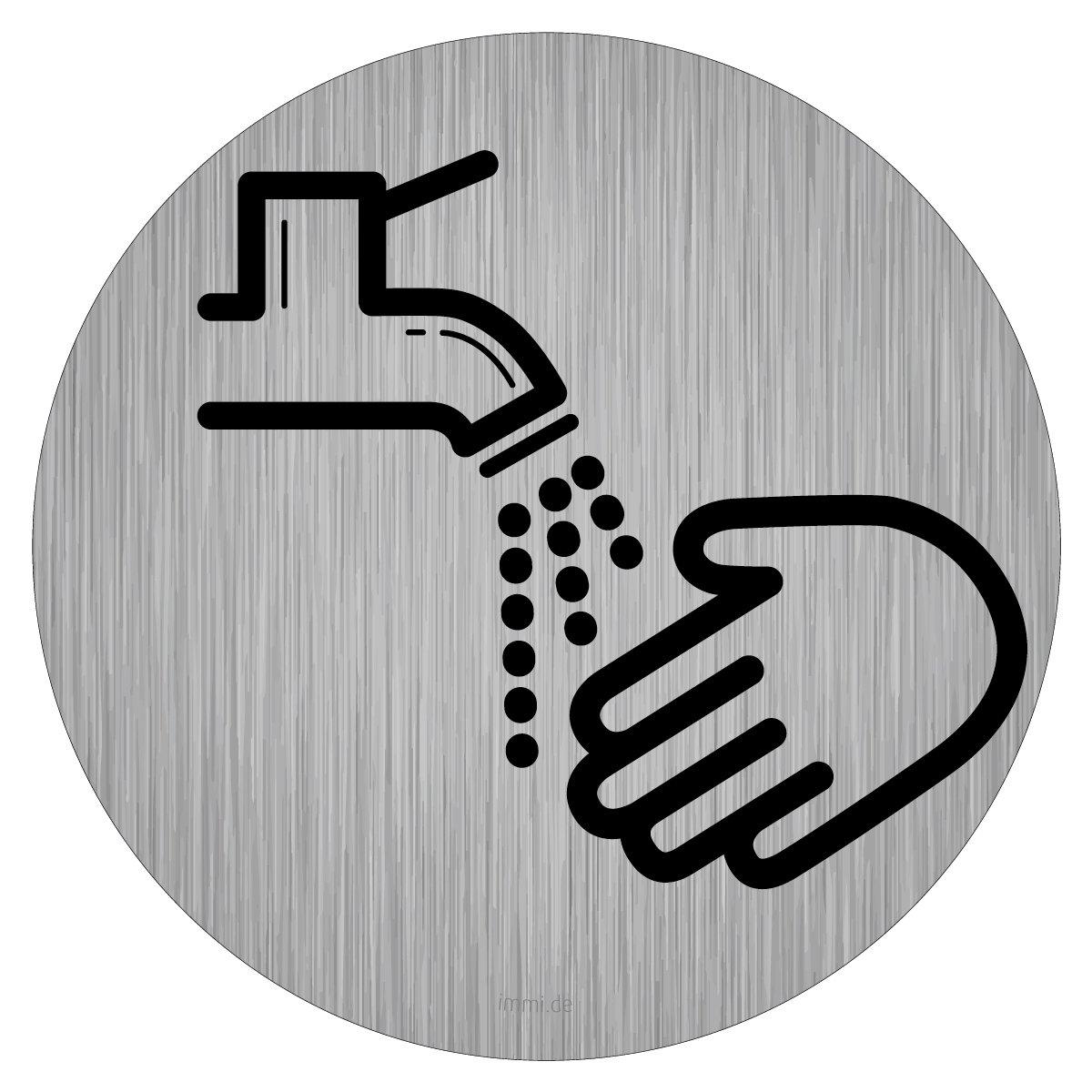 Hygiene auf Toilette 95mm/Ø H/ände waschen Edelstahl-Opt immi Toilette-Hinweis