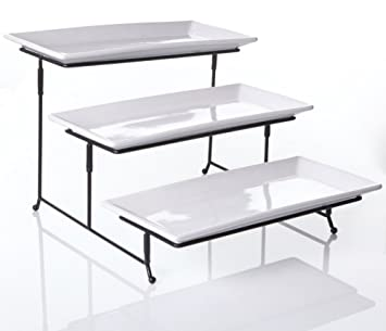 3 Tier Collapsible Thicker Sturdier Plate Rack Stand With Plates   Three  Tiered Cake Serving Tray